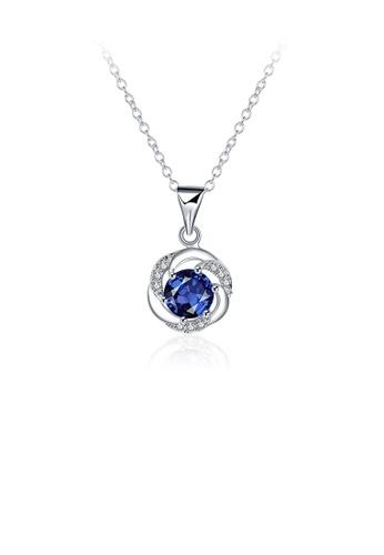Glamorousky blue Fashion Elegant Geometric Round Pendant with Blue Cubic Zircon and Necklace 7210CAC43458DEGS_1