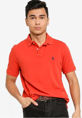 Polo Ralph Lauren red Short Sleeve Slim Fit Polo Shirt - Weathered Mesh AB11DAAA6AF283GS_1