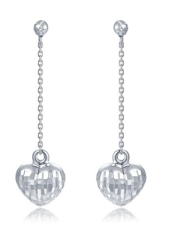 MaBelle silver 14K 585 White Gold Diamond Cut Heart Drop Stud Earrings 4FEC6ACC8C9E39GS_1