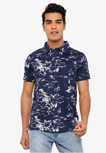 Indicode Jeans navy La Linea Tropical Print Polo Shirt E1380AA7922892GS_1