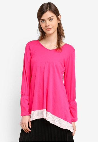 Aqeela Muslimah Wear pink Fishtail Panelled Top AQ371AA0S4VAMY_1