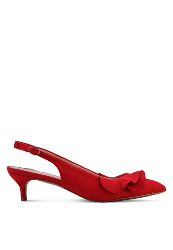 Velvet red Double Layered Ruffle Low Heels E7D28SHF83D9CAGS_1