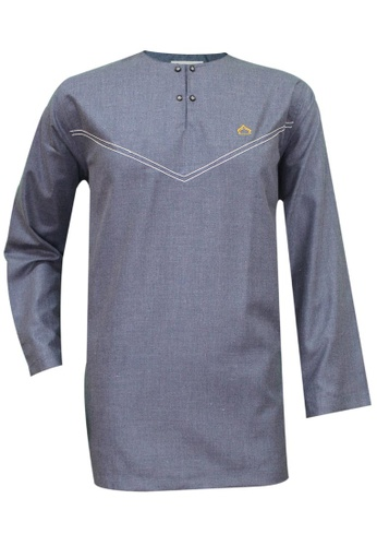 SULTAN grey SULTAN KURTA - CASHMERE - ROUND NECK FULL SLEEVES 0D179AAF7FD483GS_1