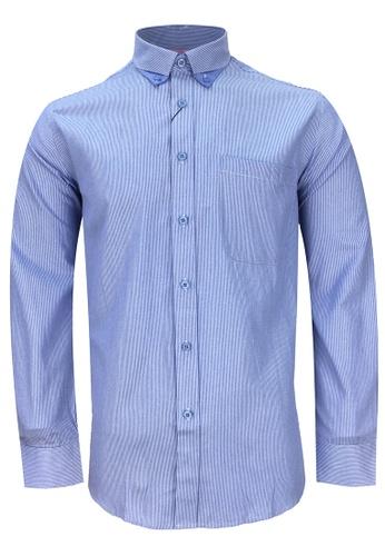 Pacolino blue Casual Smart Long Sleeve Shirt PA995AA60COXMY_1