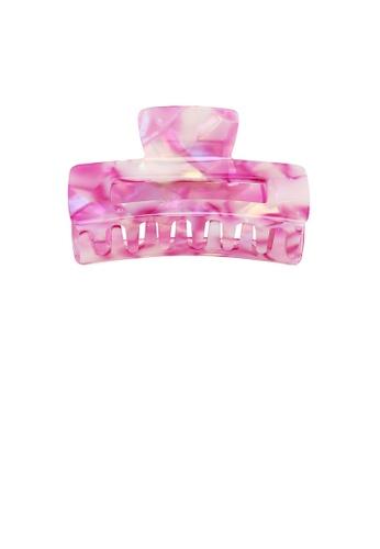 Glamorousky pink Simple Fashion Pink Pattern Geometric Rectangle Hair Claw 037BDACCD65672GS_1