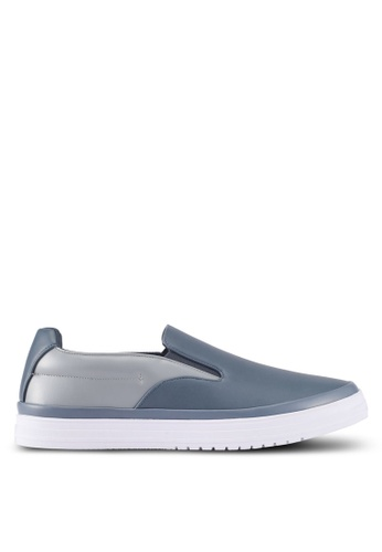 ZALORA grey Mixed Materials Slip Ons B64FFSH1EA1690GS_1
