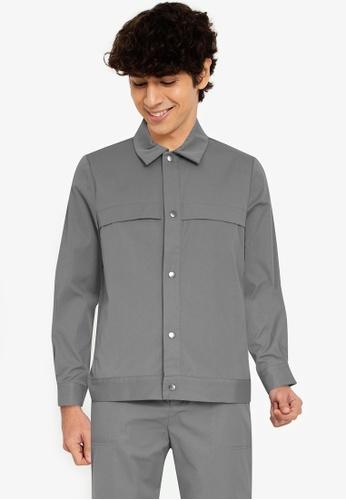 ZALORA BASICS grey Chest Flap Jacket 9CC32AA649131DGS_1