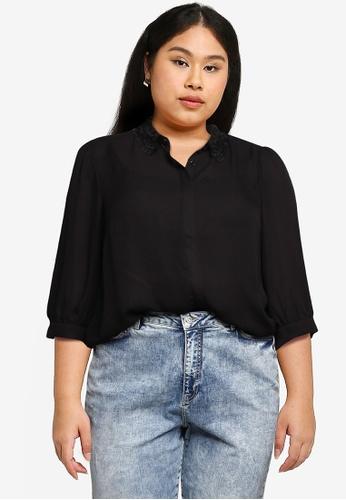 Vero Moda black Dorthe 3/4 Shirt Curve 3A70FAAABF8673GS_1