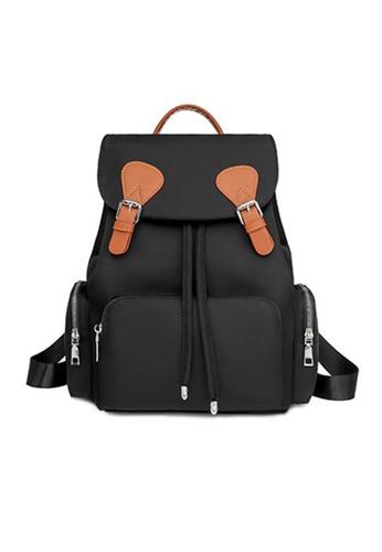 Lara black Women's British Style Oxford Cloth Flap Zipper Backpack - Black and Orange DCF68AC473D2C5GS_1