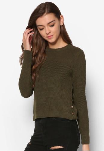 側鈕扣針織長袖衫, 服esprit retail飾, 服飾