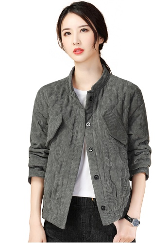 A-IN GIRLS grey Corduroy Warm Quilted Jacket C8C6FAA5A55FD8GS_1