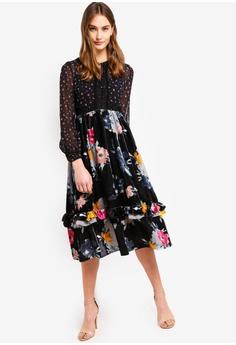 08560eaa4053 40% OFF French Connection Edith Velvet Devore Midi Dress RM 1,125.00 NOW RM  675.00 Sizes 8 10 12