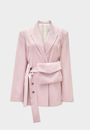 Pomelo purple Belted Bag Blazer - Purple 2EEA9AA876D150GS_1