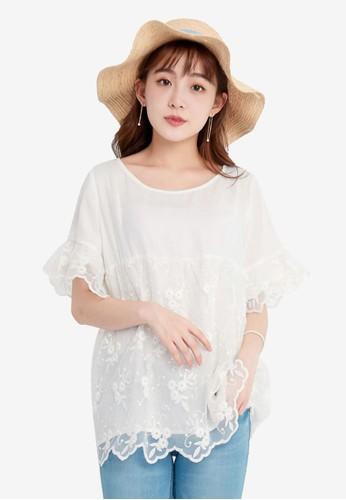 Yoco white Blouse With Lace Trim 1B5D0AA1FA5FECGS_1
