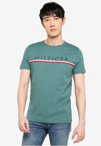 Tommy Hilfiger green Corp Stripe Tee 4EC8DAA040B6D3GS_1
