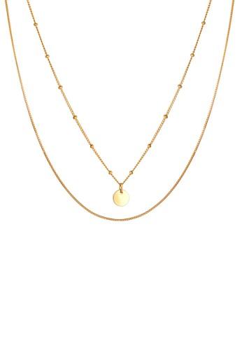 Elli Germany gold Perhiasan Wanita Perak Asli - Silver Kalung Layer Ball Circle Platelet Lapis Emas 71EE8ACEB09AB4GS_1