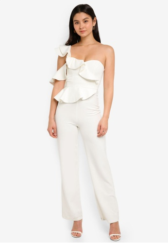 Forever New white Lourdes Wide Leg Frill Jumpsuit 018A9AAF0A2279GS_1