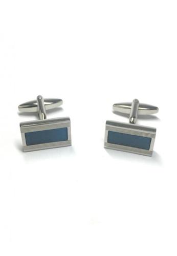 Splice Cufflinks blue and silver Blue Rectangle Insert Rectangular Cufflinks   SP744AC12DNNSG_1