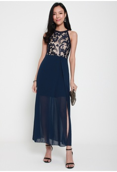 132454e9f93 Sophialuv Ace of Heart Halter Neck Maxi Dress in Navy S  45.00. Sizes M L