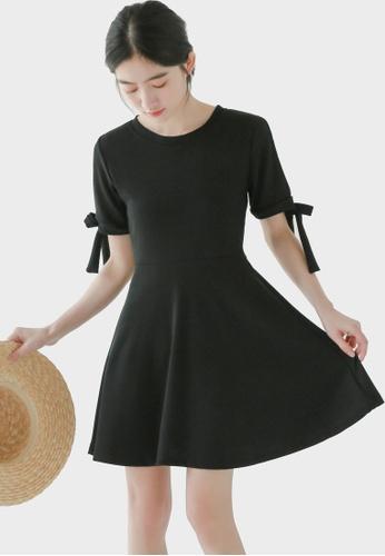 Shopsfashion black Split shoulder Fit & Flare Dress in Black 46C10AA2A5BD8CGS_1