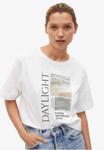 Mango white Printed Cotton-Blend T-Shirt E2CAFAA0A1E374GS_1