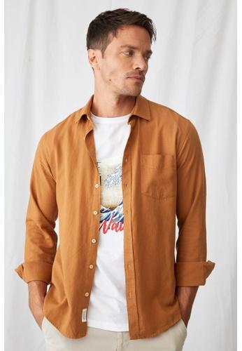 DeFacto brown Man Woven Top Long Sleeve Shirt AA8FFAA4208C5AGS_1