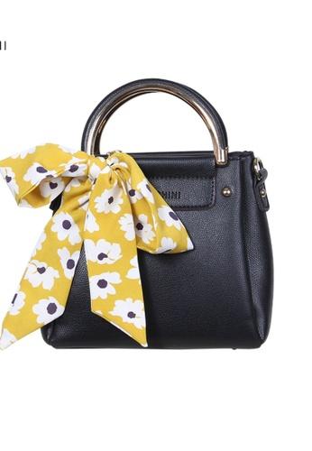 Verchini black Verchini Scarf-Wrapped Top Handle Bag 1F1FEACE4C1DB2GS_1
