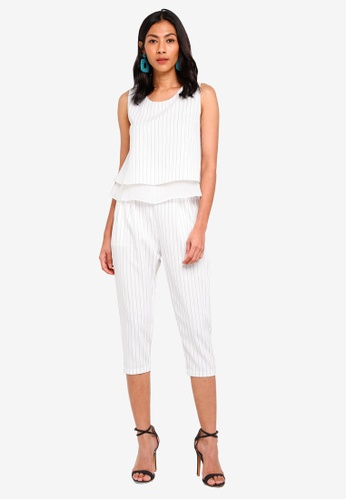 Hopeshow white Stripe Two Piece Culotte Jumpsuit E513FAAFEB9D8DGS_1