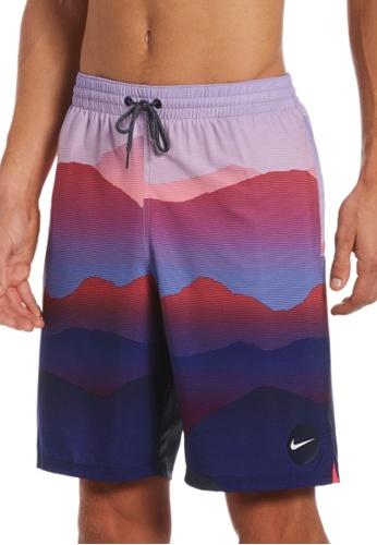 "Nike red and blue Nike Swim Men's Landscape Vital 9"" Volley Short 0949AUS9D524FDGS_1"