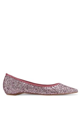 ZALORA pink Glitter Flat Pumps 4898ASHD1132BFGS_1