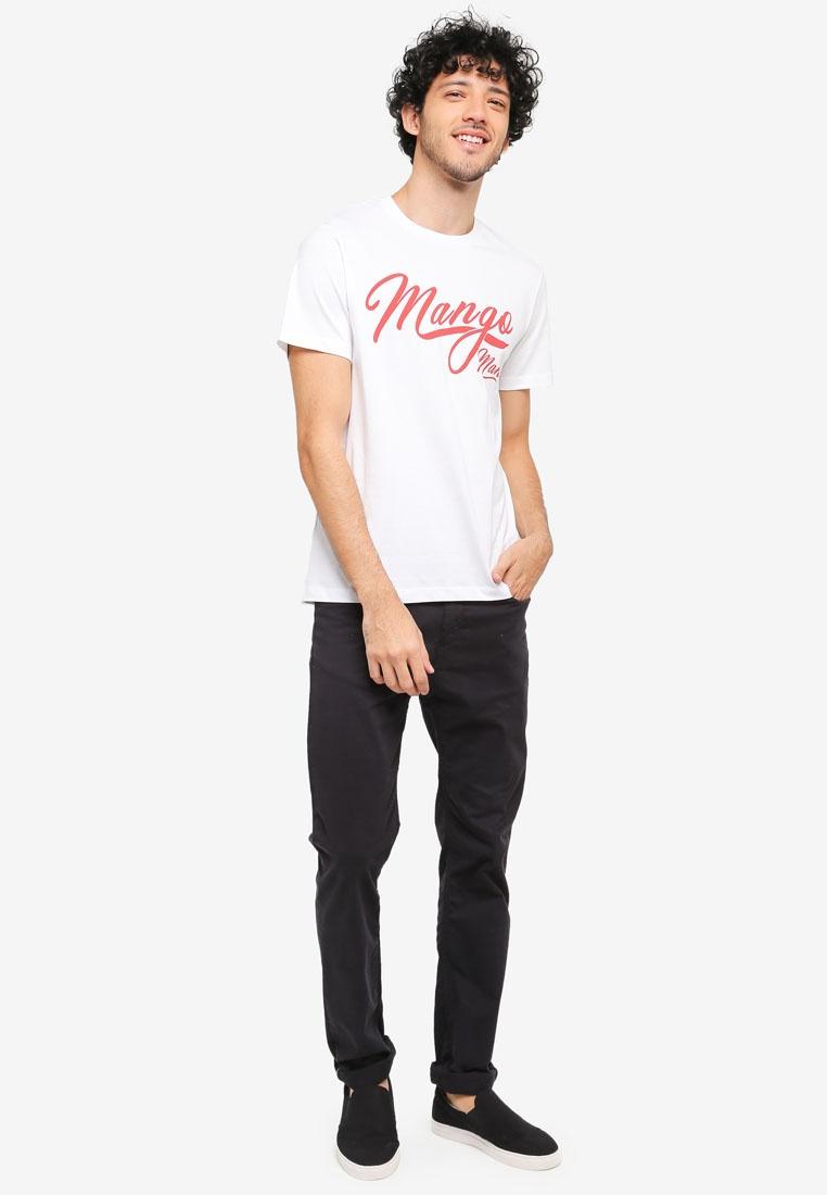 MANGO Shirt Man Printed White T Cotton tqRR781