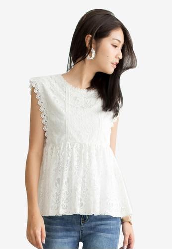 Tokichoi white Lace Overlay Blouse C4CD6AA61B0546GS_1