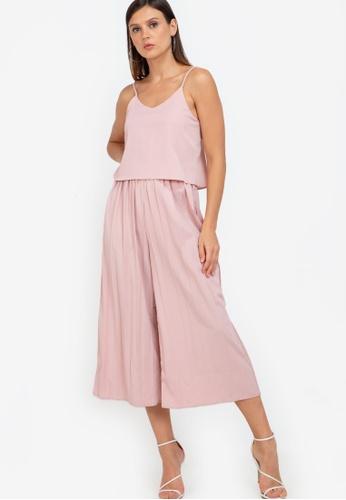ZALORA WORK pink Layered Pleated Cami Jumpsuit 601CCAA4806DA3GS_1