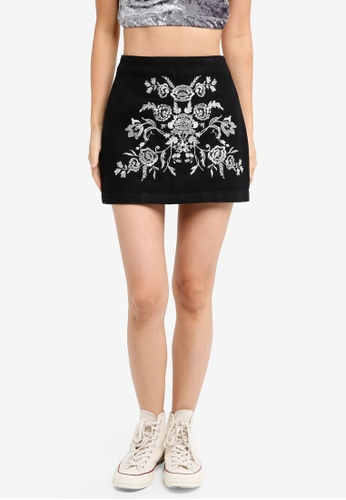 TOPSHOP 黑色 Petite Embroidered A-Line Skirt 2C8D0AAB6CBB95GS_1