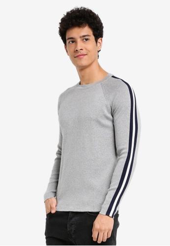 MANGO Man grey Contrast Trim Sweater C654FAA77DEF9AGS_1