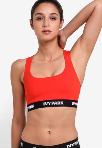 Ivy Park red Logo Elastic V Back Mesh Insert Bra IV000US46RXTMY_1