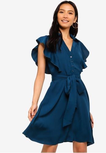ZALORA 藍色 荷葉飾洋裝 81C83AA79E2709GS_1