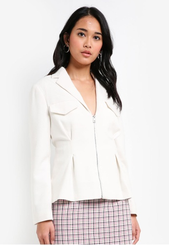 TOPSHOP white Strong Shoulder Jacket F35B2AA47D71AAGS_1
