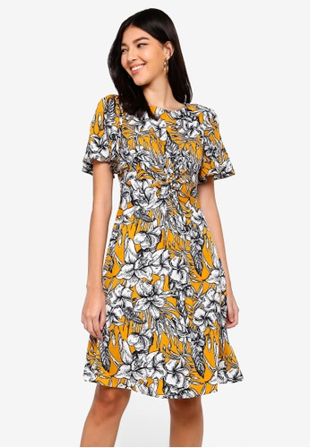 ZALORA yellow and multi Twisted Fit And Flare Dress 3228FAA8DD2C15GS_1