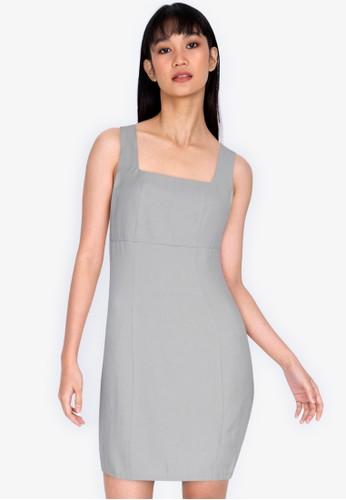 ZALORA BASICS grey Fitted Square Neck Mini Dress 6FDE1AA7ECDC5AGS_1