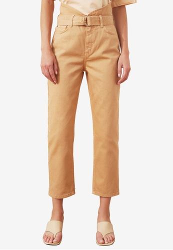 Trendyol brown Belted High Waist Straight Pants 9D620AA3EAB992GS_1