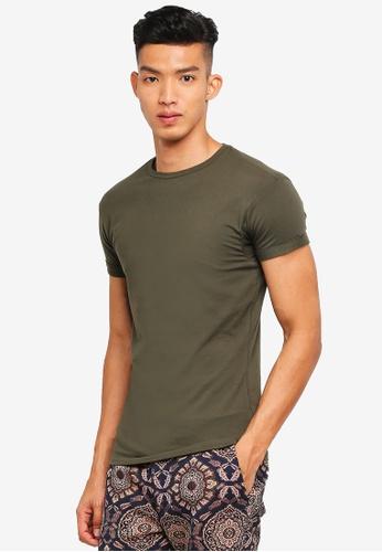 Topman 綠色 素色短袖T恤 01FAEAA522B789GS_1