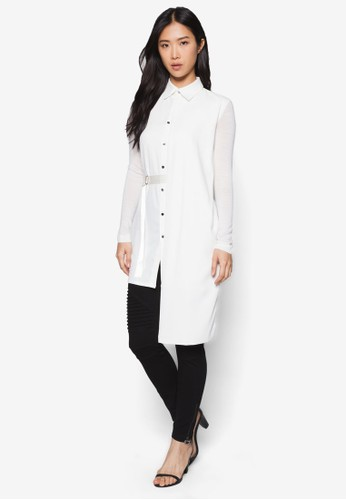 不對稱長版腰帶襯esprit台灣網頁衫, 服飾, 上衣