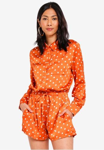 Glamorous orange Polka Dot Belted Playsuit 14E3AAA8E7343EGS_1