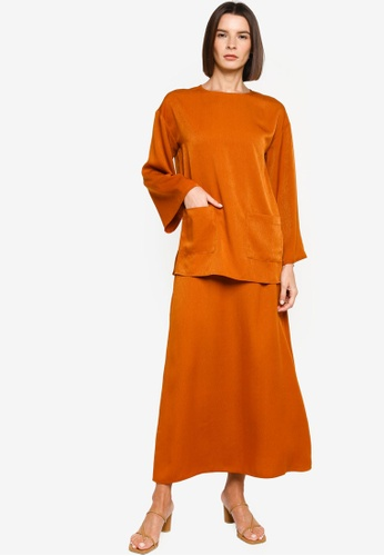 ZALIA BASICS 橘色 Top With A-line Skirt Set ED5D4AAC30CCE0GS_1