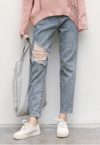 Shopsfashion blue Torn Cropped Jeans SH656AA0GI6WSG_1