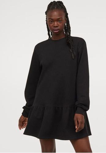 H&M black Sweatshirt Dress A1C02AA5E1FAB5GS_1