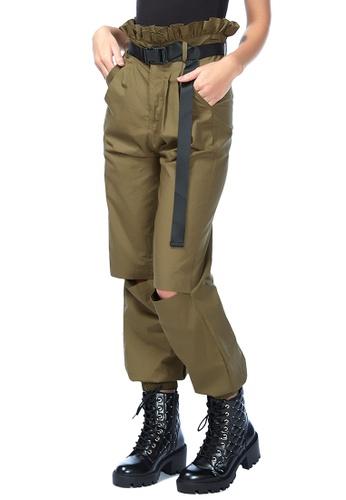London Rag 綠色 军绿色工装裤 7DA44AAE87F654GS_1