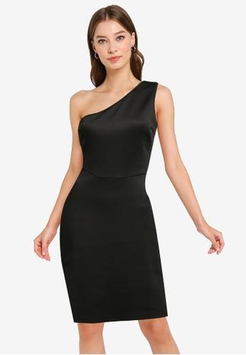 ZALORA OCCASION black Toga Dress With Side Slit A2930AAFBECE22GS_1