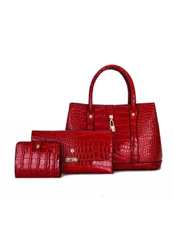 Lara red Business Women's Capacious Lizard Grain Leather Handbag (3-piece Set) - Wine Red 549A8ACDE7AD48GS_1